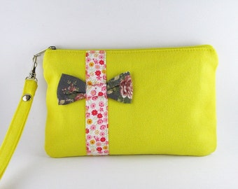 SUPER SALE - Yellow with Little Bow Clutch - iPhone 5 Purse, Cell Phone Wristlet, Cosmetic Bag ,Camera Bag, Zipper Pouch - Made To Order