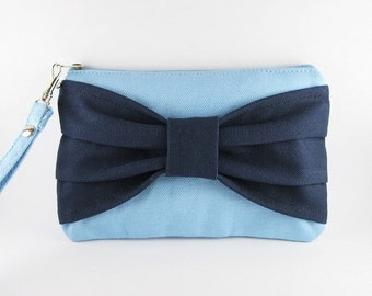 SUPER SALE - Light Blue with Navy Bow Clutch - iPhone 5 Wallet, iPhone Wristlet, Cell Phone Wristlet, Zipper Pouch - Made To Order