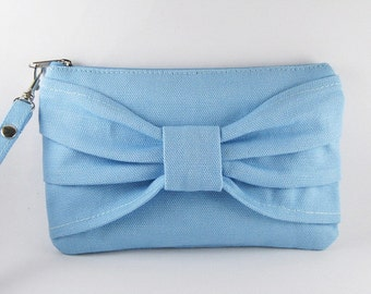 SUPER SALE - Light  Blue Bow Clutch - iPhone Wristlet, Cell Phone Wristlet, Cosmetic Bag, Camera Bag, Zipper Pouch - Made To Order