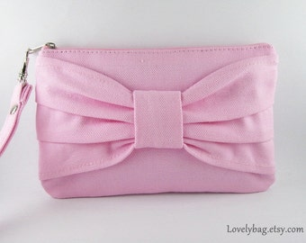 SUPER SALE - Light Pink Bow Clutch - Bridal Clutches, Bridesmaid Wristlet, Wedding Gift, Cosmetic Bag, Zipper Pouch - Made To Order