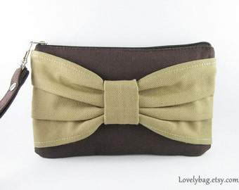 SUPER SALE - Brown with Khaki Bow Clutch - iPhone 5 Wallet, iPhone Wristlet, Cell Phone Wristlet, Cosmetic Bag, Zipper Pouch - Made To Order