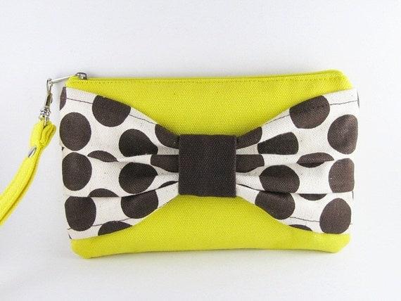 Big Bow Yellow Clutch - Bridesmaid Gift Bag, Wedding Gift, Bridal Clutch, Cosmetic Bag Make Up, Camera Bag, Zipper Pouch, Zipper Wristlet