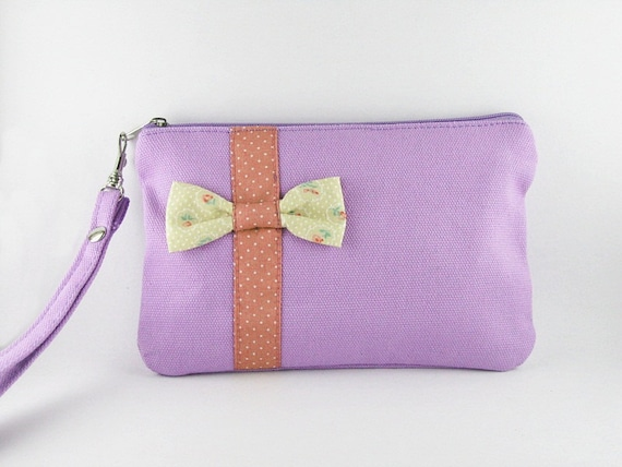 Little Bow Purple Clutch - iPhone Purse, Cell Phone Wristlet, Camera Bag, Cosmetic Bag, Zipper Pouch