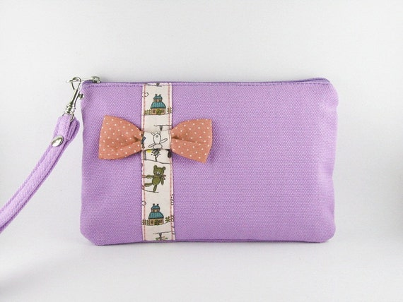 Lovely Little  Bow (Purple) - iPhone Purse, Cell Phone Wristlet, Camera Bag, Cosmetic Bag, Zipper Pouch