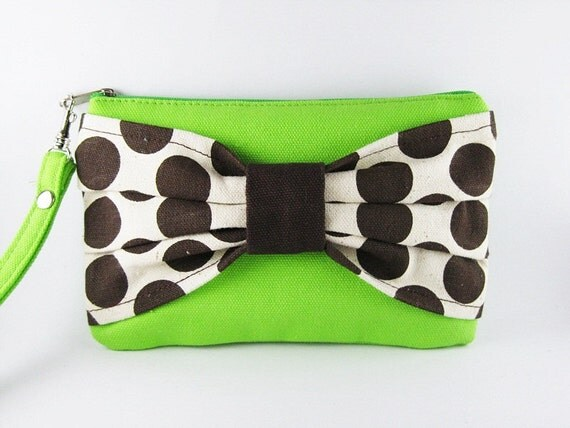 Big Bow  (Green)  - iPhone Purse, Cell Phone Wristlet, Camera Bag, Cosmetic Bag, Zipper Pouch