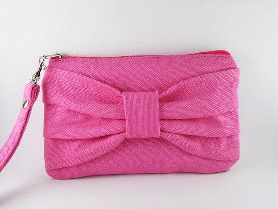 Big Bow Fuchsia Clutch, Women Clutch, Bridal Clutches, Bridesmaid Gift Bag, Wedding Gift ,Cosmetic Bag ,Make Up Bag, Zipper Pouch