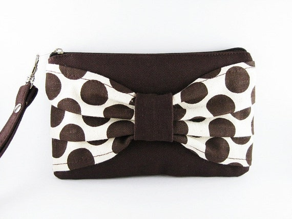 Big Bow  (Brown)  - iPhone Purse, Cell Phone Wristlet, Camera Bag, Cosmetic Bag, Zipper Pouch