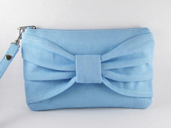 Big Bow Blue Clutch, Bridesmaid Gift Bag,Wedding Gift ,Cosmetic Bag Make Up, Camera Bag,Zipper Pouch Wristlet