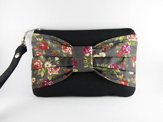 Big Bow  (Black) - iPhone Purse, Cell Phone Wristlet, Camera Bag, Cosmetic Bag, Zipper Pouch