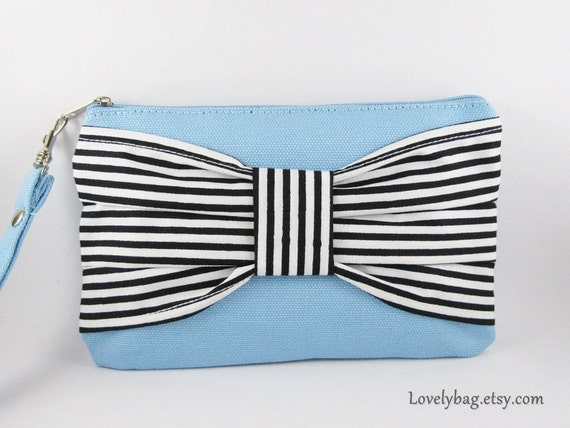 Big Bow Blue Clutch, Bridesmaid Gift Bag,Wedding Gift ,Cosmetic Bag Make Up, Camera Bag,Zipper Pouch Wristlet