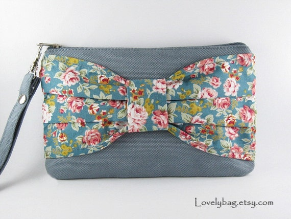 Big Bow Gray Clutch, Bridesmaid Gift Bag,Wedding Gift ,Cosmetic Bag Make Up, Camera Bag,Zipper Pouch Wristlet