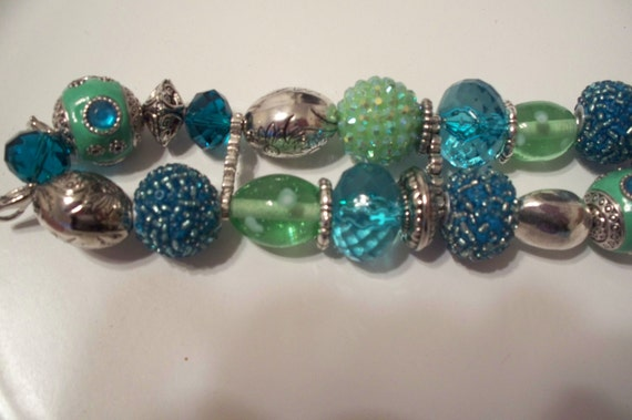 Chunky Beaded Interchangeable Turquoise and Green Watch Band