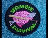 Zombie Survival Iron On Patch Pink