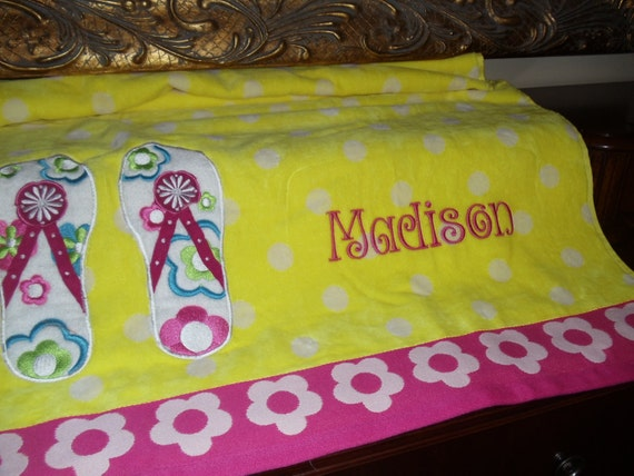 Children's Cotton Beach Towel With Embroidered Name or Monogram