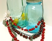 Red Glass Pearls, Lots of Chain, and White Flower with Rhinestone-Long Necklace