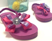 Little Girl Pink and Purple Glitter Bow Flip Flops with Rhinestone