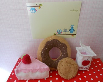 Felt food play dessert set  children ( chocolate donnut strawberry cake maria cookie and cherry yogurt)