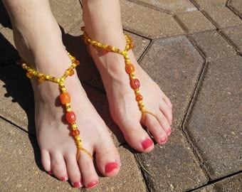 Yellows and Oranges Barefoot Sandals