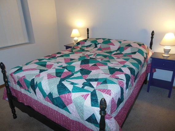Pinks and Greens Queen Size Quilt