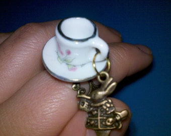 Sale white rabbit charm teacup ring