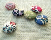 Cloth Buttons, Assorted Vintage Liberty of London Fabrics, Set of 6...Heirloom Style