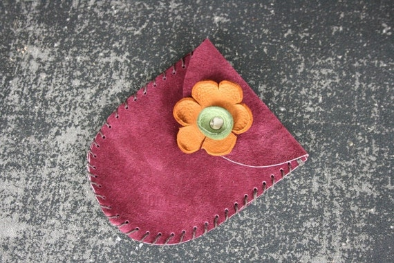 Red wine colored leather card holder with leather flower
