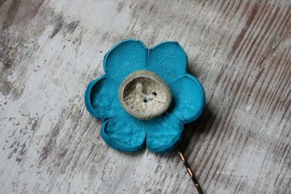 Turquoise and cream leather flower hair bobby pin for girly summer hair