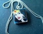 Classic comic book Wonder Woman Scrabble Tile Necklace