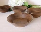 Set of 4 Vintage Kustom Kraft Solid Black Walnut Bowls