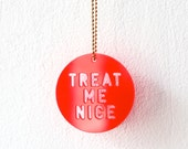 Necklace, Treat Me Nice, fluorescent red