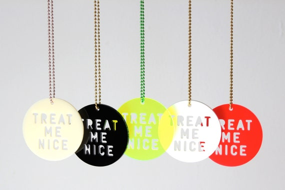Necklace, Treat Me Nice, ivory, black, white, red