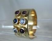 Ring 14kt yellow gold amethist sapphire