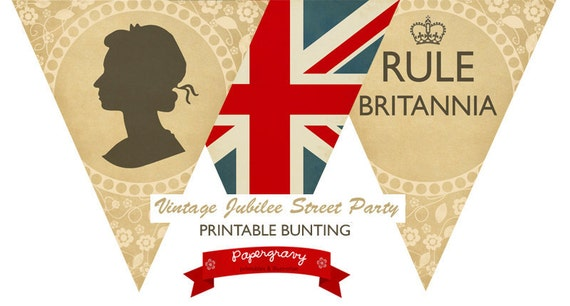 Digital Printable Vintage Royal Jubilee Olympics British union jack BUNTING Flags party