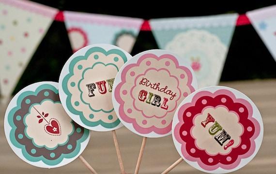 Printable girl's birthday cupcake toppers