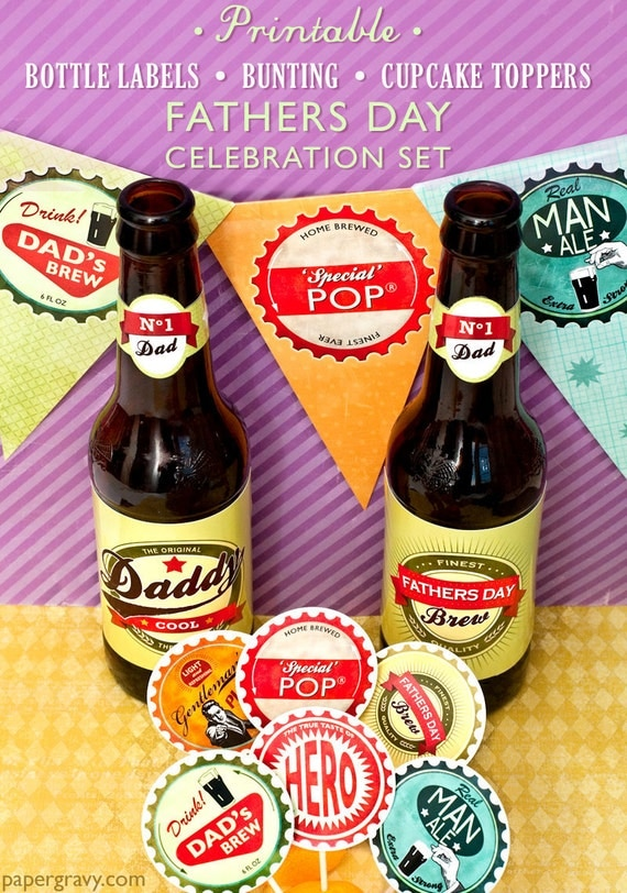 Fathers Day Printable Set of Beer Labels, Bunting, Cupcake toppers