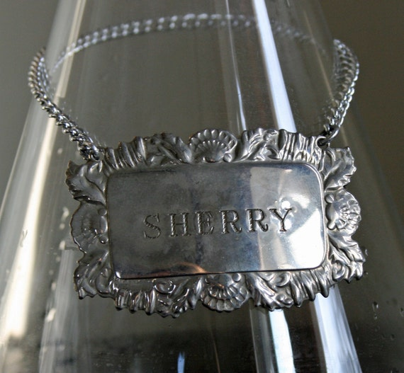 Vintage Silver Plated Metal Sherry Bottle Tag For Decanters