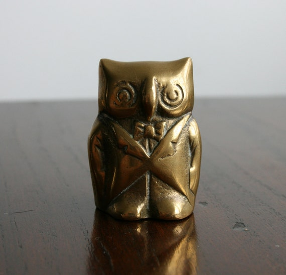 Vintage Brass Owl In A Suit Ornament