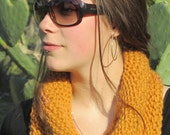 Hand knitted Scarf / cowl  mustard yellow with small lilac yarn -Ready to Ship
