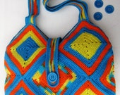 Crochet Shoulder Bag  in Orange, Yellow and Blue Colors - Purse - Crochet Bag - Spring and Summer Bag - Fashion 2012 - Free shipping