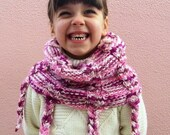 Toddler girl neck warmer, pink white multicolored, hand knit cowl