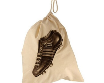 Personalised drawstring bag, vintage football boot design gift bag