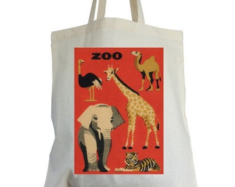 Red ZOO cotton tote bag, ideal book bags, school bags, shopping bags, kit bags etc