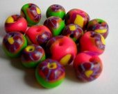 Funky Flower Polymer Clay Beads