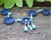 Dreamcatcher bracelet Water Fairy in metallic blue