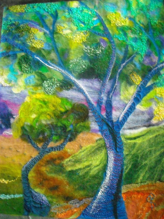 felt art, wet felted, felt picture, abstract tree, mystic forest
