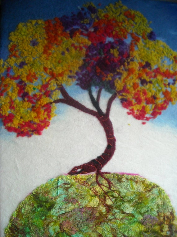 original abstract tree art,  contemporary fiber art,  nuno felting, tree on the hill