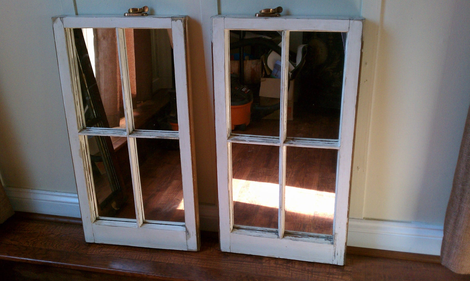 Old wood window pane mirrors set of 2 for Window pane mirror