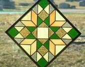 "9"" quilt pattern stained glass panel"