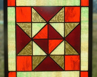 """9"""" quilt pattern stained glass panel"""