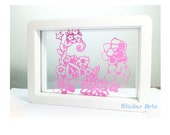 Pink Flowers Sticker - Wooden Frame Clear Glass